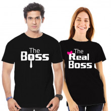 The Boss, The Real Boss - Couple- Cotton Tshirt Combo - Buy Online