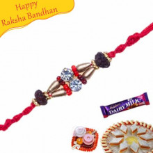 Wooden Beads Thread Jewelled Rakhi