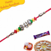 Red And Green Pearls With American Diamond Studed Rakhi