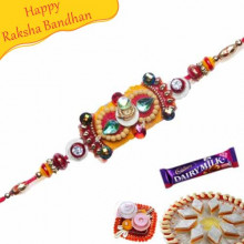 KUNDAN RAKHI WITH GOLDEN BEADS