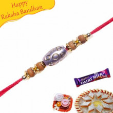 oval shape sandalwood rakhi