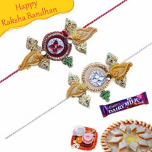 Sandal Wood Diamond rakhi