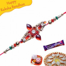 Golden Beads, American Diamond Jewelled Rakhi