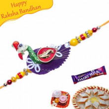 YELLOW BEADS, PEACOCK DESIGN KUNDAN RAKHI