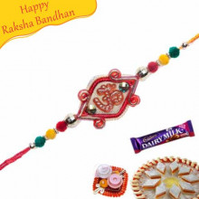Om Multicolor Valvet Ball Rakhi